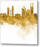 Riyadh Skyline In Watercolour On White Background Metal Print