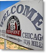 Route 66 - Midpoint Sign Metal Print