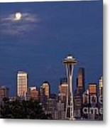 Seattle Skyline With Moonrise And Space Needle Metal Print