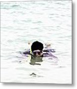 Snorkelling In The Lagoon Inside The Coral Reef Metal Print