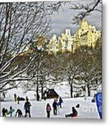 Snowboarding  In Central Park  2011 Metal Print