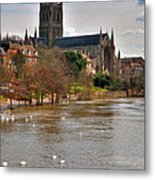 Worcester Cathedral And Swans Metal Print