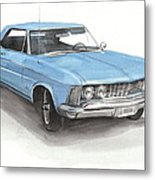 63 Buick Riviera Watercolor Portrait Metal Print