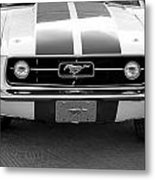 67 Mustang Front In Black Metal Print