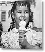 Girl With Ice Cream Cone Metal Print