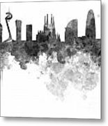 Barcelona Skyline In Watercolour On White Background Metal Print