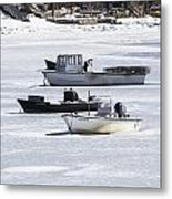 Boat And Ice Hobart Beach Ny Metal Print