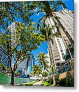Downtown Miami Brickell Fisheye Metal Print