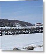 Frozen Northport Dock Metal Print