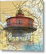 7 Ft Knoll Lighthouse Md Nautical Chart Map Art Cathy Peek Metal Print