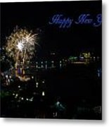 Happy New Year Greeting Card - Fireworks Display Metal Print