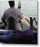 Lady Sleeping While Boatman Steers Metal Print
