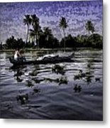 Man Boating On A Salt Water Lagoon Metal Print