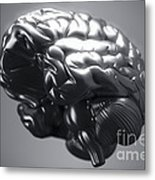 Metallic Brain Metal Print