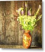 Monet Style Digital Painting Retro Style Still Life Of Dried Flowers In Vase Against Worn Woo Metal Print