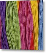 Multicolored Embroidery Thread In Rows Metal Print