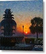 Pineapple Fountain At Dawn Metal Print