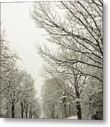 Snow Covered Road And Trees After Winter Storm Metal Print