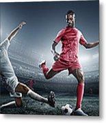 Soccer Player Kicking Ball In Stadium Metal Print