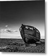 Stunning Black And White Image Of Abandoned Boat On Shingle Beac Metal Print