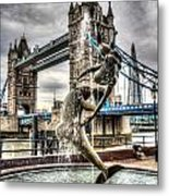 Tower Bridge And The Girl And Dolphin Statue Metal Print