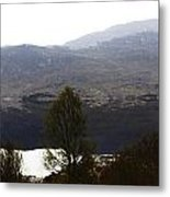 Trees On The Shore Of A Loch And Hills In The Scottish Highlands Metal Print