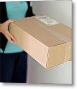 Woman Receiving Parcel Metal Print