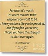 74- F. Scott Fitzgerald Metal Print