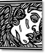 Sumler Angel Cherub Black And White Metal Print