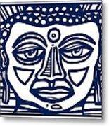 Trivane Buddha Blue White Metal Print