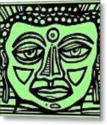Cleark Buddha Green Black Metal Print