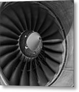 757 Engine Black And White Metal Print