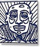 Frisby Buddha Blue White Metal Print