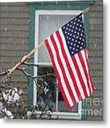 #762 D68 American Flag Winter Metal Print