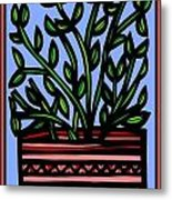Sako Plant Leaves Red Green Blue Metal Print