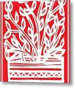 Kimbrell Plant Leaves Red White Metal Print