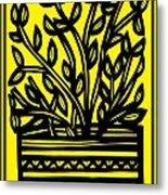 Heidecker Plant Leaves Yellow Black Metal Print