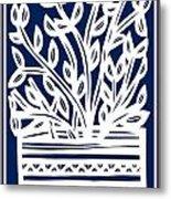 Stearne Plant Leaves Blue White Metal Print