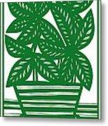 Lagoa Plant Leaves Green White Metal Print