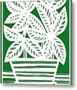 Stole Plant Leaves Green White Metal Print