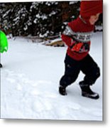 A Young Boy And Mother Sledding Metal Print