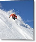 A Young Man Skis Untracked Powder Metal Print