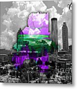 Atlanta Map And Skyline Watercolor Metal Print