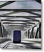 Blue Citylink Bus On A Metal Bridge In Scotland Metal Print
