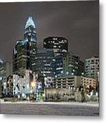 Charlotte Queen City Skyline Near Romare Bearden Park In Winter Snow Metal Print
