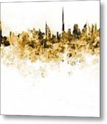 Dubai Skyline In Watercolour On White Background Metal Print