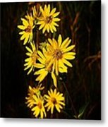 Bees And Flowers Metal Print