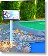 8 Hole Sign On  Golf Course Metal Print
