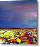 Modern Abstract Painting Original Canvas Art  Sunset By Zee Clark Metal Print