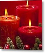 Red Advent Wreath With Candles Metal Print